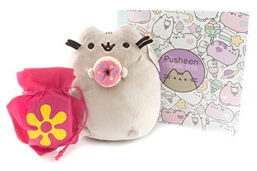 Pusheen with Donut Plush and Pusheen Coloring Book Gift Combo | Pusheen 9.5