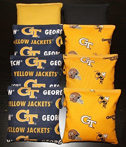 BackYardGamesUSA 8 Cornhole BEANBAGS Made w Georgia TECH Yellow Jackets Fabric ACA Reg Bags