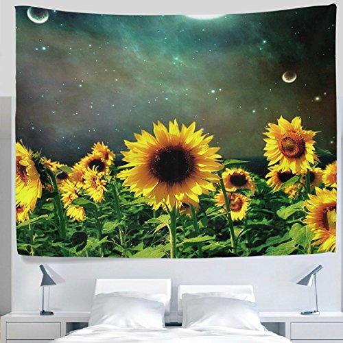 Nature Landscape Scenery Sunflower Floral Garden Night Sky Full Moon Tapestry Wall Hanging Artistic Light-weight Polyester Fabric Cottage Dorm Wall Art Home Decoration 90x60 ()