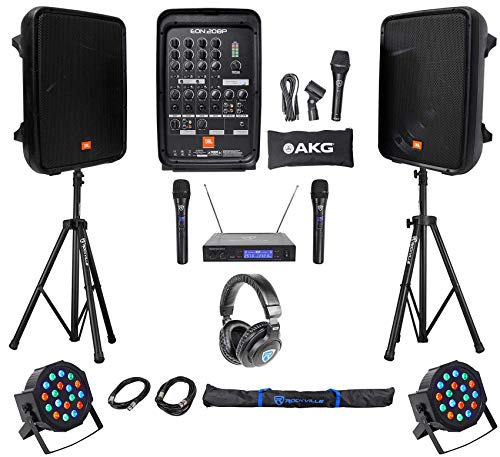 "JBL EON208P 8"" Bluetooth Speakes+Mixer+Stands+Wireless Mics+"