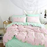 Duvet Cover Queen Cotton Bedding Set Leaves Print,Reversible Mint and Pink Background Vibrant Duvet Cover for Teens Adult-Zipper Closure,Ultra Comfy,Comforter Fixing Ties