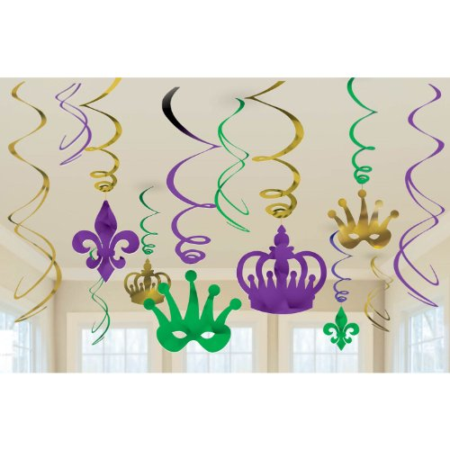 Amscan Vibrant Mardi Gras Party Crown & Mask Swirl Ceiling Decorating Kit (12 Piece), Multi Color, 10 x 9.5 for $<!--$2.19-->