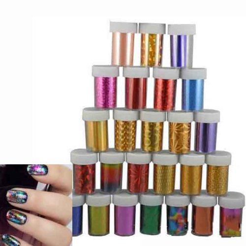 Nail Art Nail Sticker Decal Foil Beauty-Random Color 5Pcs by Hob Shop (Image #1)