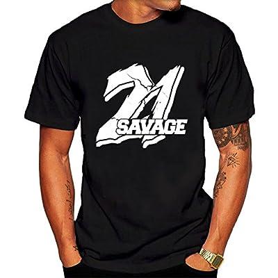 Men's 21 Savage Hip Hop tshirts Black Short Sleeves