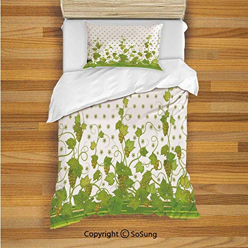 - Grapes Home Decor Kids Duvet Cover Set Twin Size, Flowers Cluster Sherry Leaf Province Garden Retro Refreshing Tasty Countryside 2 Piece Bedding Set with 1 Pillow Sham,Green
