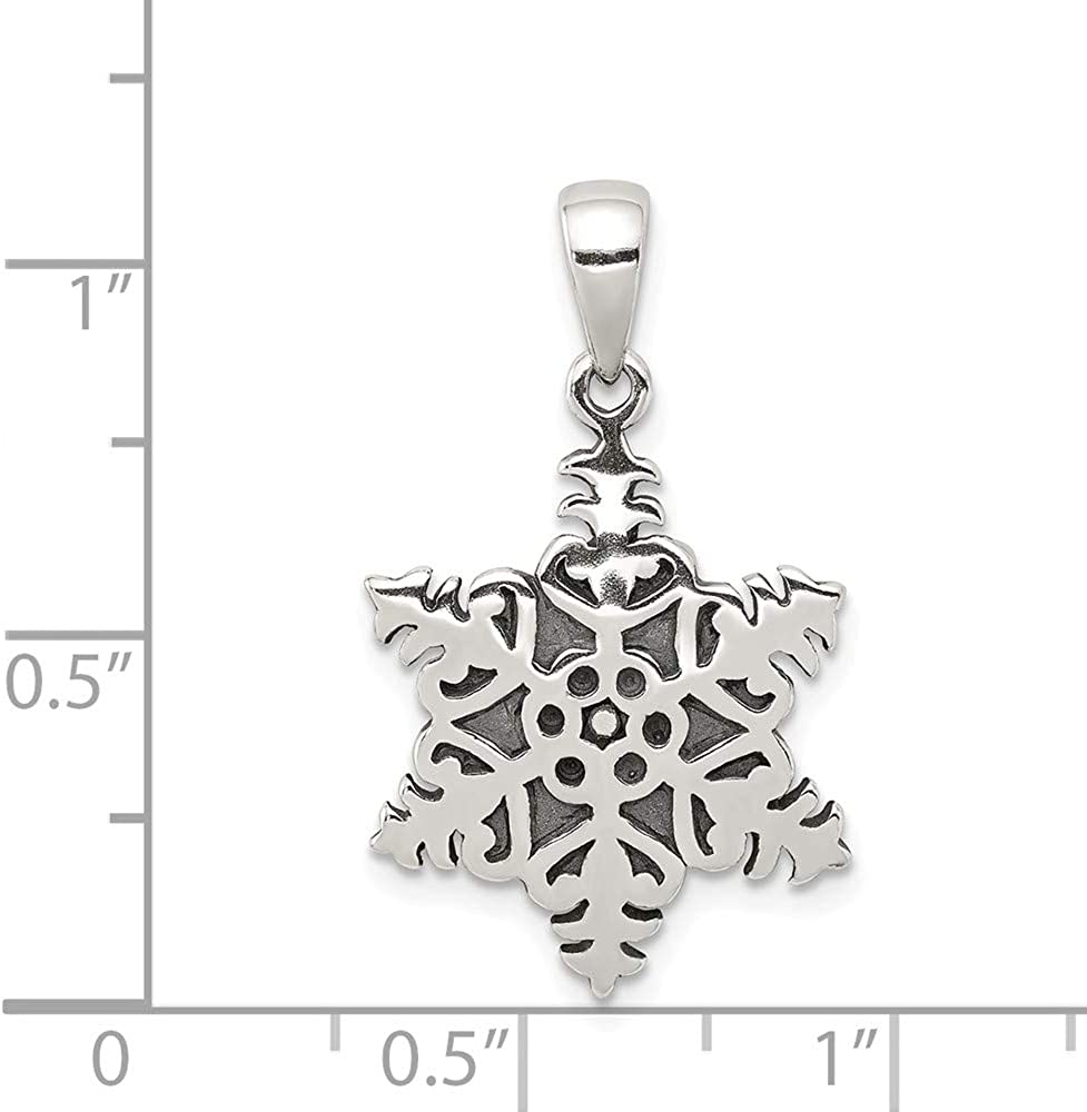 FB Jewels Solid 925 Sterling Silver Snowflake Pendant