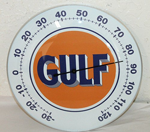 "(USTRADINGPOST - Gulf Oil Gas Thermometer 12"" Round Glass Dome Sign Vintage Style Man CAVE Decor)"