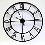Utopia Alley Roman Round Clock, Distressed Finish, Metal, Dark Bronze