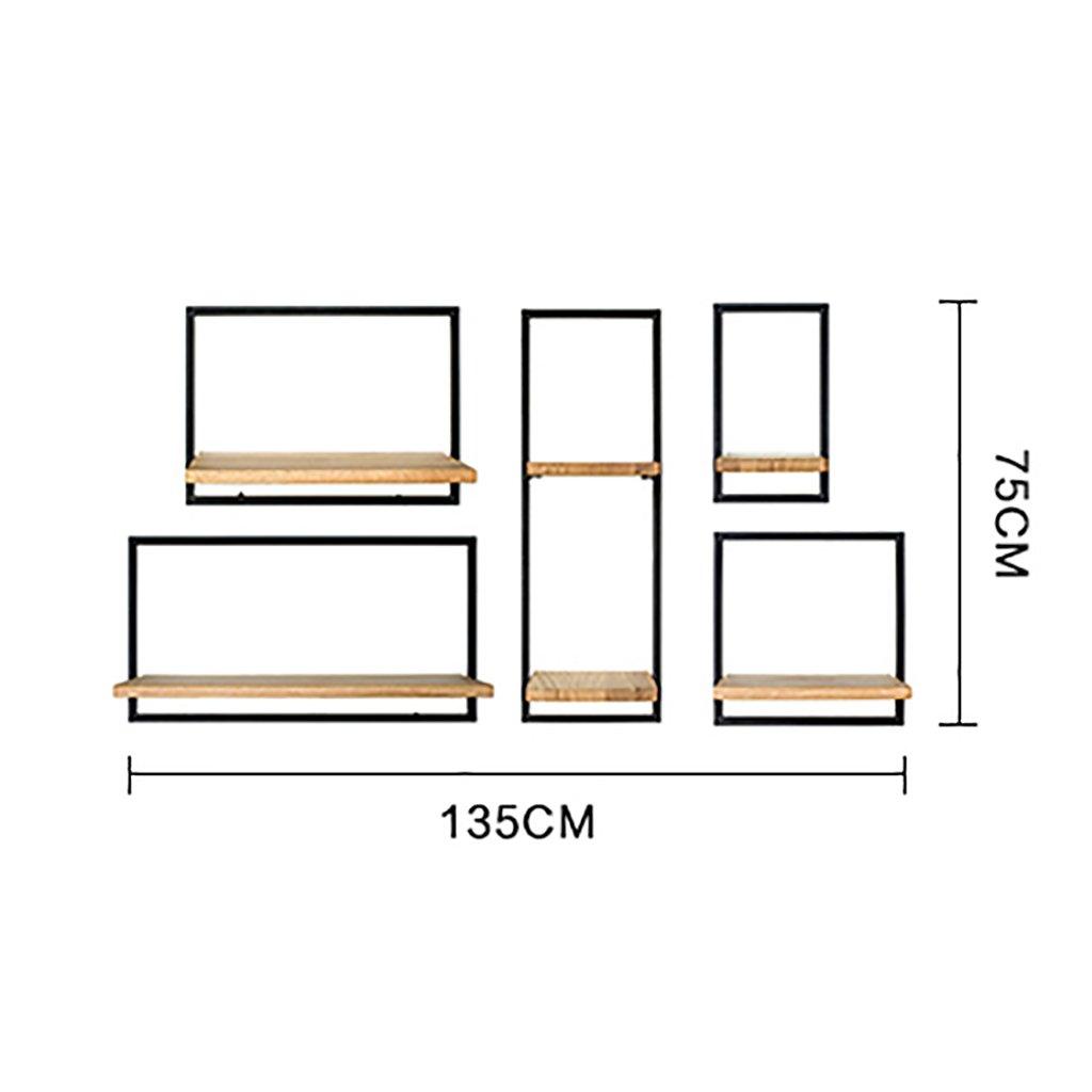 創造的な人格産業スタイル壁掛けストレージラックリビングルームホームLOFTヴィンテージ鍛造ラック大型ペンダント B07SJNG6J1