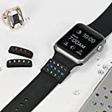 Add-SPARKLES-to-your-Apple-Watch-38mm-Bling-My-Thing-Rainbow-Mix-Black-Allure-Loop-Set-with-Swarovski-CrystalsEasily-Slide-them-On-and-Off-the-Watch-Band-Suitable-for-Series-1-and-2