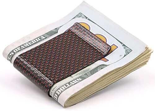 Kinzd Money Clip Carbon Fiber Minimalist Wallet Credit Card Business Card Holder