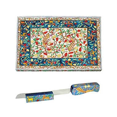 Yair Emanuel Wooden Challah Board, Knife and Stand - Oriental Cb-3 Ns-3
