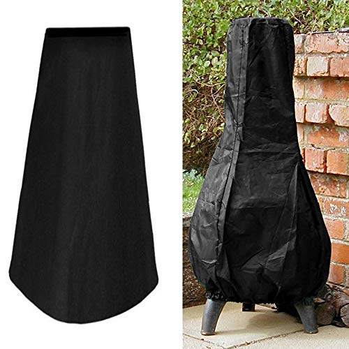 Wellbeing Patio Chiminea Cover Waterproof Outdoor Garden Chimney Fire Pit Heater Cover UV Protective Water Resistance Durable 24Dia x 48H Black