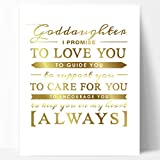 Goddaughter Gift, Unique Baptism Gift, Christening Gift or New Baby Gift for Godchild - Gold Foil Typography Goddaughter Quote Artwork Gold Foil Print by Ocean Drop Designs (11x14'')