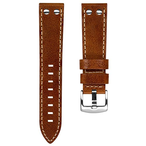 Geckota Aldergrove Vintage Aviation Genuine Leather Riveted Watch Band, Brown, Brushed Buckle, 20mm (Riveted Buckle)