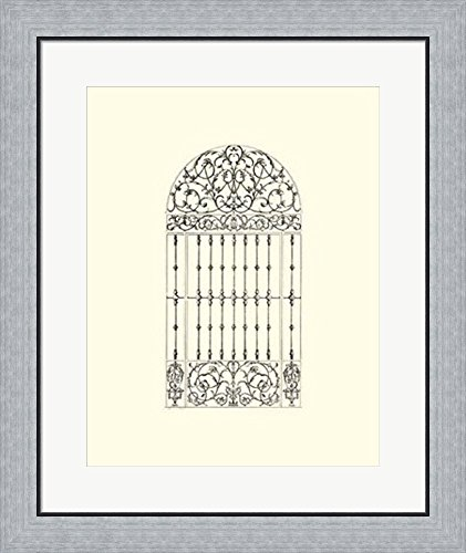 B&w Wrought Iron Gate (B&W Wrought Iron Gate III Framed Art Print Wall Picture, Flat Silver Frame, 23 x 27 inches)