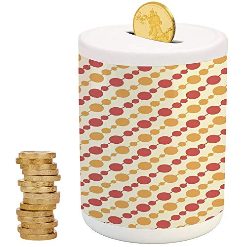 Kids,Ceramic Girls Bank,Printed Ceramic Coin Bank Money Box for Cash Saving,Diagonal Chain Pattern with Big and Small Dots on Lines in Shabby - Blanks Bank Color Piggy