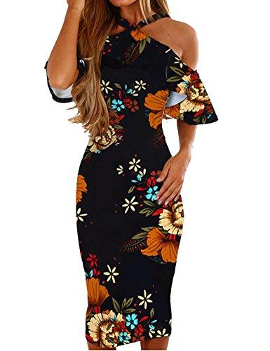 Murimia Womens Summer Cold Shoulder Strap Ruffle Floral Midi Dress Black