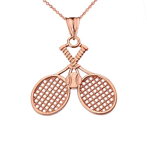 Fine 10k Rose Gold Double-Crossed Tennis Racquets and Ball Sports Charm Pendant Necklace, 18