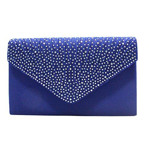 Mariage Soiree Royal Strass Pochette de Sac Bleu Chaine Epaule Soiree Party Enveloppe Handbag Ox7wIEq78