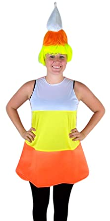 Womenu0027s Candy Corn Halloween Tunic Dress Costume with Wig  sc 1 st  Amazon.com : candy corn dress costume  - Germanpascual.Com