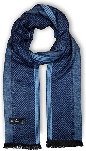 Bleu Nero Luxurious Winter Scarf for Men and Women - Large Selection of Unique Design Scarves - Super Soft Premium Cashmere Feel Light Blue/Navy Vertical