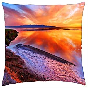 stunning sea sunset - Throw Pillow Cover Case (18