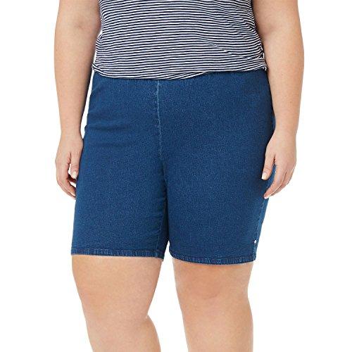Symbidium Womens Plus-Size Easy Fit Comfort Elastic Waist Pull-On Essential Shorts Pant with Hem Rivets