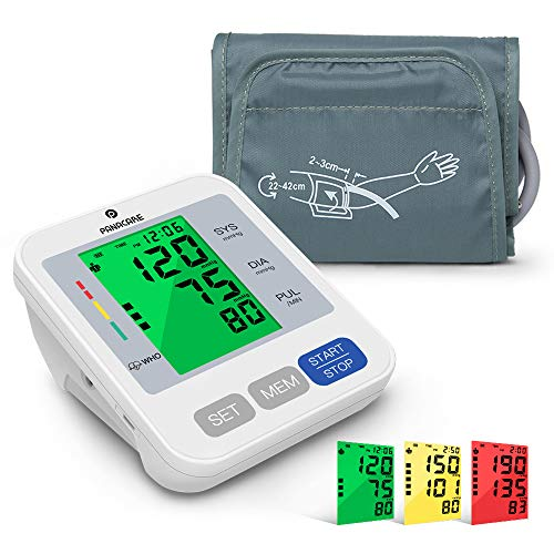 """Blood Pressure Monitor for Upper Arm with Audio Reading, PANACARE 3.4"""" Tri-Color Backlight Automatic Electronic BP Monitor, BP Machine Meter Tester with 8.7-16.5″ Cuff for Home, 2 User"""