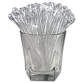 Royer 5.5″ Plastic Teardrop Swizzle Sticks, Cocktail/Whiskey Stirrers, Set of 24, Crystal – Made In USA