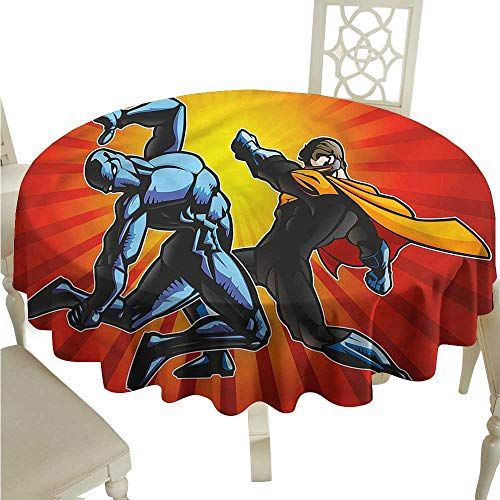 (ScottDecor Outdoor Picnics Superhero,Fighter Punching Villian Wrinkle Free Tablecloths Round Tablecloth D 50