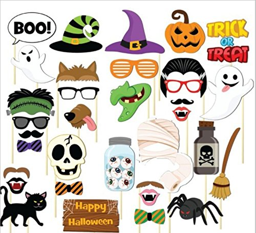 35pcs Happy Halloween Photo Booth Props on a Stick Colorful DIY Glasses hats Picture backdrop for Wedding Birthday Halloween (Halloween Mugshots)