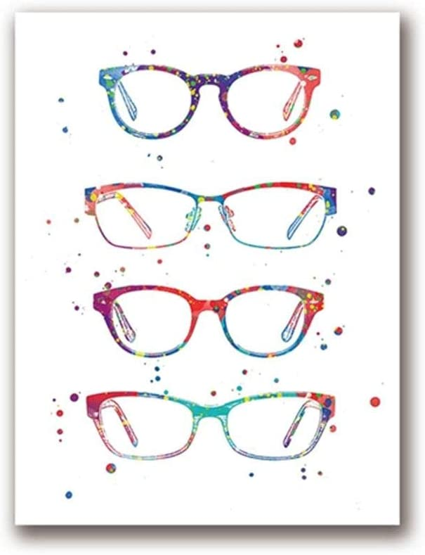 Watercolor Optometry Art Painting Wall Picture Modern Glasses Canvas Art Prints and Poster Ophthalmology Gift Wall Decor 50x70cm no Frame