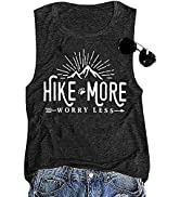 Women Workout Graphic Tank Funny Hike More Worry Less Tee Tops Hiking Beach Holiday Shirts