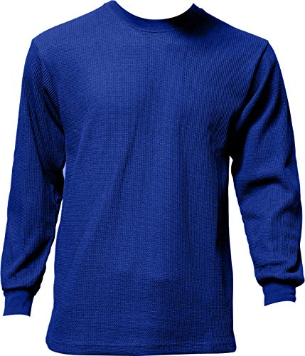 Men's Thermal Top Warm Winter 100% Cotton Many Colors, Blue, Medium by DS