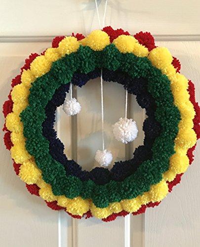 Yarn Wreath (Rainbow Yarn Pom Pom Wreath with Clouds - PomPoms Decor)