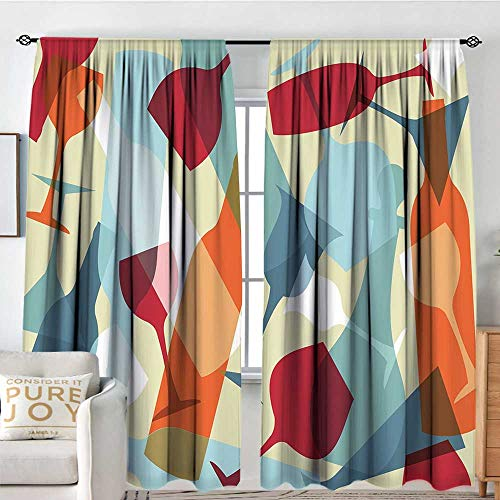 Petpany Kitchen Curtains Wine,Modern Design Colorful Silhouettes of Glasses Bottles Fun Party Artistic,Light Blue Ruby Orange,Rod Pocket Curtains for Big Windows 100