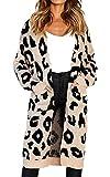 Women Elegant Long Open Front Drape Maxi Long Sleeve Cardigan Sweater Khaki XL