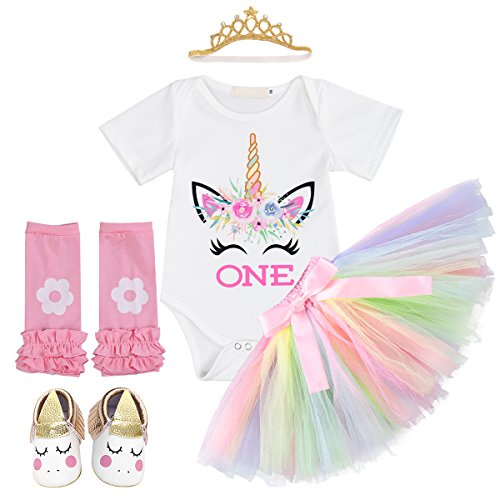 Baby Girl 1st Birthday Smash Cake Outfits Unicorn Flower Romper Tulle Strips Tutu Princess Party Halloween Costume Multi Color 6-12 Months