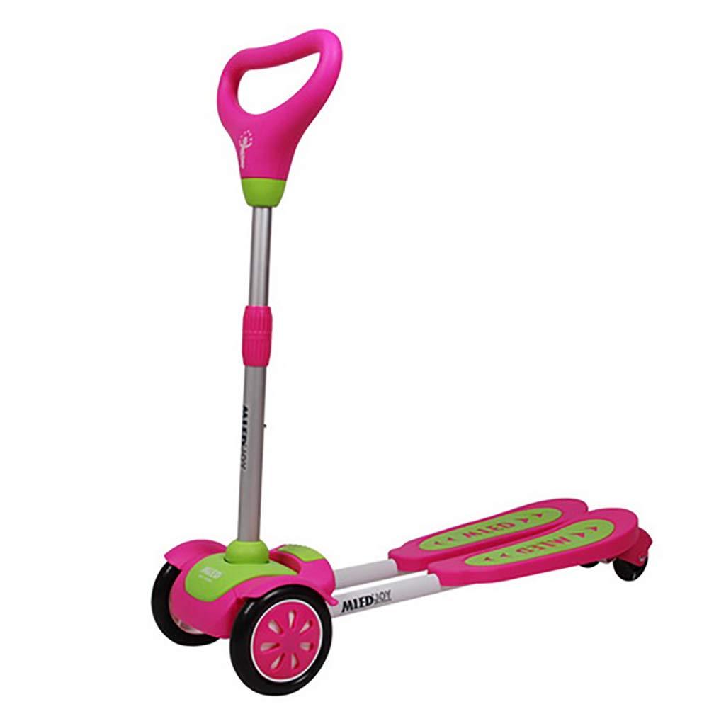 HH スクーター スタントスクーター四輪フラッシュフットブレーキ、調節可能なキックスクーター子供のカエルスクーター2-3-6-8-10歳 (色 : 青) B07KYM85SQ ローズレッド ローズレッド