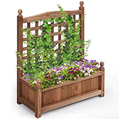 Giantex Wood Planter Free Standing Plant Raised Bed with Trellis for Garden or Yard (25