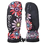 Miful Waterproof Windproof Winter Warm PU Leather Woman Female Mitt Mitten Gloves for Running Jogging Cycling Motorcycle Skate Skateboard Roller Skating Ski Snowboard (L, Sun Flower)