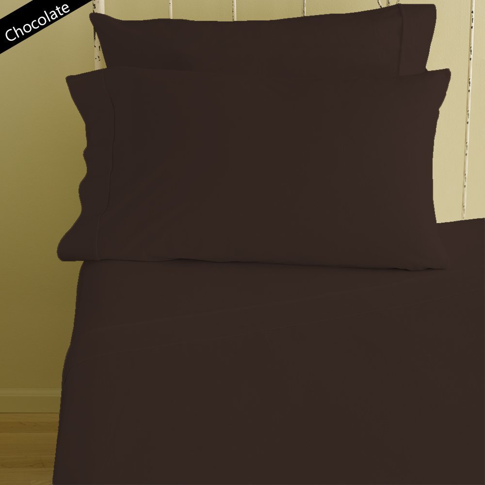 Both Pattern Solid/Stripe 1-Piece- Fitted- Sheet with 20-25 inches Extra Fit Deep Pocket Hotel Finish Adjustable Room 400 Thread Count 100% Pima Cotton (King , Solid Chocolate).