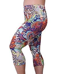 95380e05846 Zerdocean Women s Plus Size Lightweight Printed Capri Leggings for Summer
