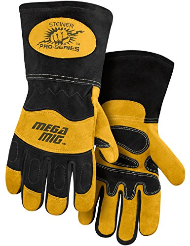 (Steiner 0225-L Pro-Series MegaMIG Cotton Lined and ThermoCore Foam Backed Heavyweight Reverse Grain Goatskin and Split Cowhide MIG Welding Gloves, Large)