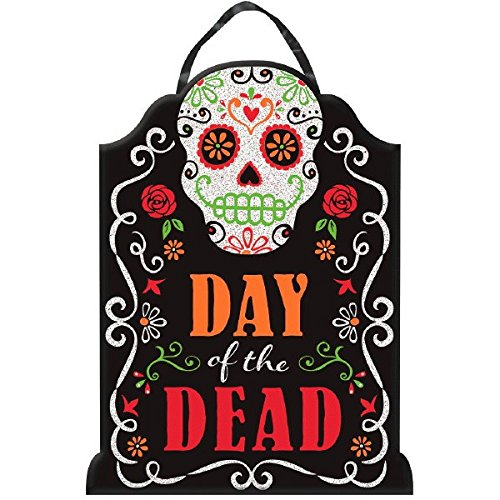 Day of the Dead Halloween Party Sugar Skull Tombstone Hanging Sign Decoration, Board, 16