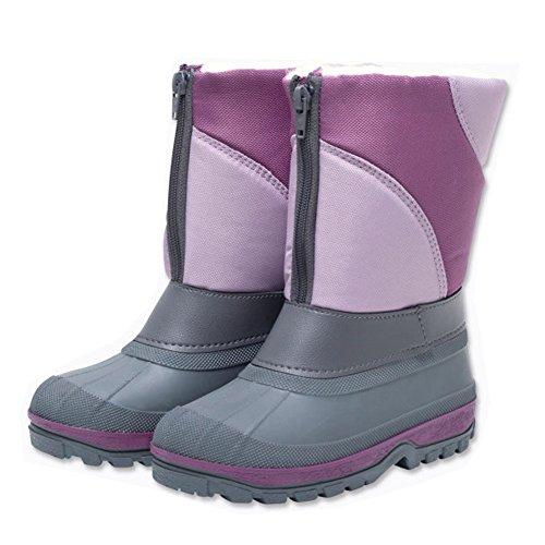 Warme Kinder Mädchen Schneestiefel Winterstiefel Stiefel lila-grau grösse wählbar
