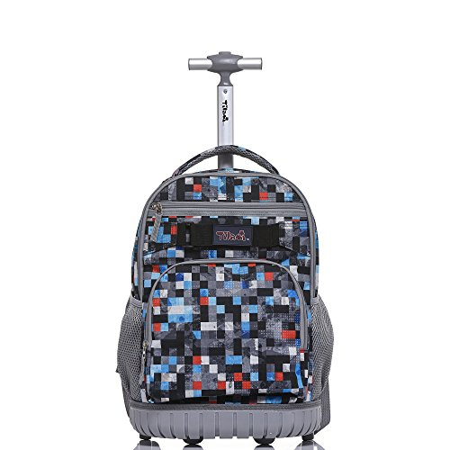 Tilami Rolling Backpack 18 inch for School Travel, Black Square