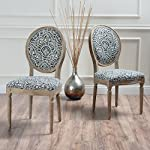 Christopher Knight Home 300257 Phinnaeus Fabric Dining Chair (Set of 2), Black/White