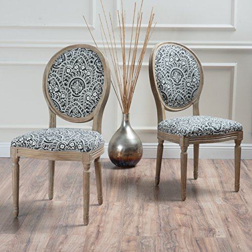 Christopher Knight Home Phinnaeus Fabric Dining Chair (Set Of 2), Black/White